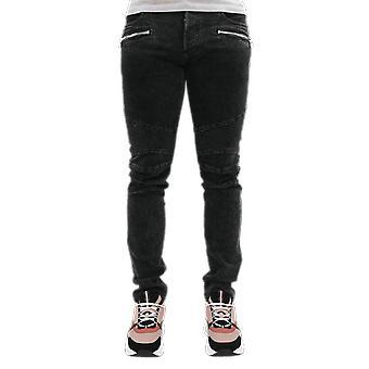 Balmain Ribbed Slim Jeans-Black Bleach Noir VH1MG005107D0PA Pantalon