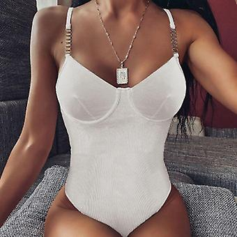 Donna Rompers Estate Sexy Party Magro Magro Senza Maniche Bodycon Bodysuit