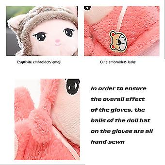 Cartoon Cute Lanyard Student Winter Outdoor Mittens Thickened Cotton Cold Gloves Women