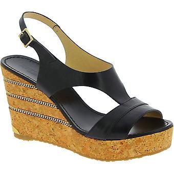 Jimmy Choo Women's fashion slingback high wedges sandales en cuir noir