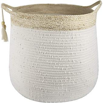 La Jole Muse Woven Laundry Basket - Large Cotton Rope Storage Basket with Handle and Tassel