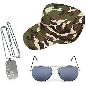 Instant armata fantezie rochie set - camuflaj pălărie câine tag-uri de aur aviatorilor mens doamnelor unisex
