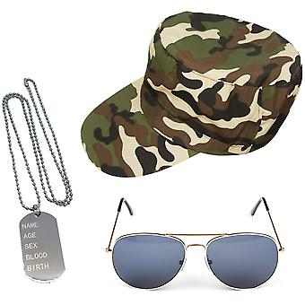 Instant leger fancy dress set - camouflage hoed hond tags gouden vliegeniers heren dames unisex