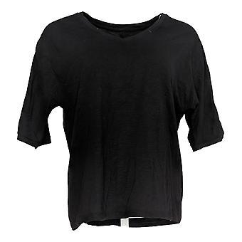 Chiunque donna top accogliente maglia slub tee con maniche allacciate nero A374511