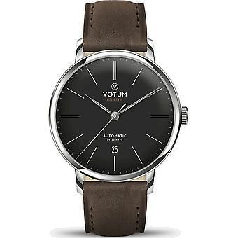 VOTUM - Unisex watch - VINTAGE AUTOMATIC - VINTAGE - V08.10.10.03 - leather strap - dark brown