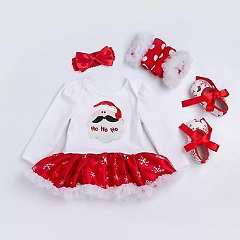 Baby Dress-Style Romper, Shoes, Socks And Headband ,Ho Ho Ho