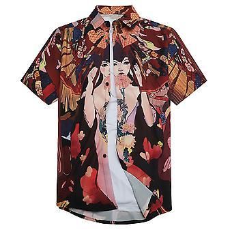 Allthemen hombres's 3D impreso camisa geisha estilo japonés manga corta lapel top