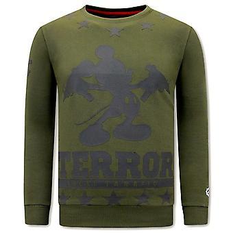 Sweater Met Print - Terror Mouse - Groen