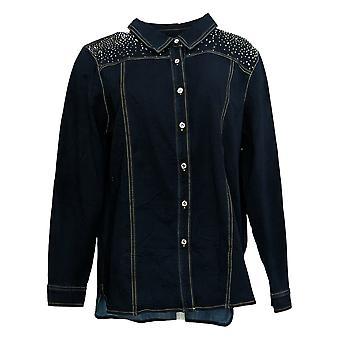 "Quacker Factory Women's Top ""Dream Jeannes"" Embellished Jacket Blue A341780"