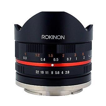 Rokinon 8mm f2.8umc fisheye ii (zwart) vaste lens-canon ef-m mount compact systeem camera's (rk8mbk28-m)
