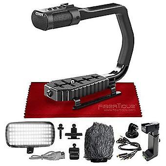 Sevenoak micrig universal video grepp handtag stabilisator med integrerad stereomikrofon, vindruta + led ljus, bonus sko förlängare ps51047