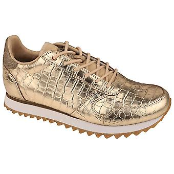 Woden Ydun Gold Croc Skin Effect Lace Up Trainers