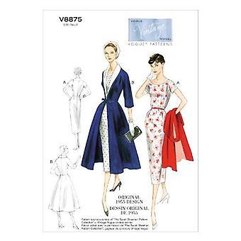 Vogue coser patrón 8875 misses vestido abrigo de cinturón tamaño 16-24 Sin cortar