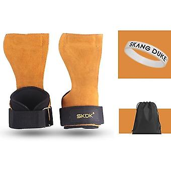Cowhide Gym Gloves, Anti-skid Weight Lifting Grip Pads