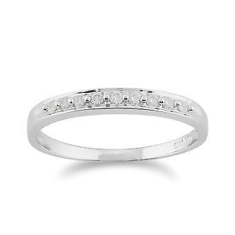 9ct vitguld 0.10ct diamant klassisk stil evighet Ring