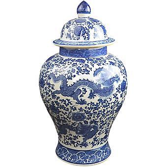 Klassische blaue und weiße Porzellan Floral Tempel Drachen Jar Vase