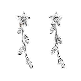 Boucles d'oreilles argent et oxydes de zirconium 'Fleurs scintillantes'