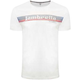 Lambretta Heren Logo Stripe Crew Neck Katoen T-Shirt T-Shirt Top - Wit