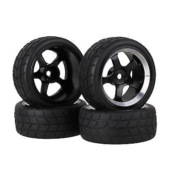 4 x svart firkantet gummidekk og legering 5-eikers hjulfelg for RC1: 10 on-road bil