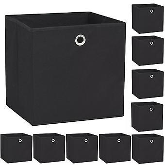 vidaXL Storage boxes 10 pcs. Nonwovens 32 x 32 x 32 cm Black