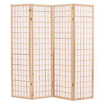 vidaXL 4 stk. Rumdeler japansk stil foldestang 160 x 170 cm naturlig