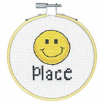Mått räknade Cross Stitch Kit med Hoop: Happy Place