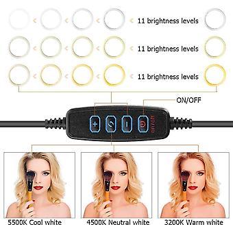 HanFei Ringlicht Ringleuchte 10 Zoll mit Stativ Handy Halter, 3 Lichtfarben und 11 Helligkeitsstufen