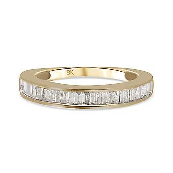 TJC White Diamond I3/G-H Vielsesring 9K Gul Guld SGL Certificeret 0.84ct