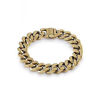 HYPE Guess Bijoux  - Bracelet acier dor� vieilli maille coup�e quatre cot�s larg. 12 mm