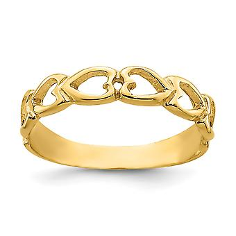 14k Polished Open Love Hearts Baby Ring Size 3 - 1.1 Grams