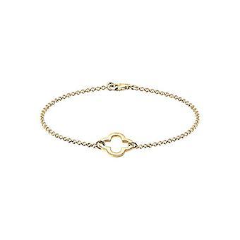 Elli Kvinders armbånd med fire-blad kløver symbol skåret ud af sølv 925 forgyldt rose guld (2)