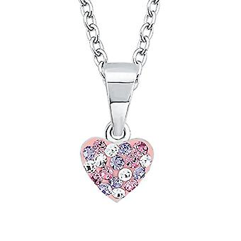 Prinzessin Lillifee Children's necklace with silver pendant 925 rhodium with multicolored crystal, pattern: heart, 38 cm - Ref. 4056867002004