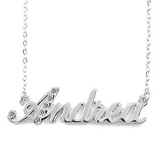 KL Kigu Andrea - Naisten kaulakoru päällystetty 18 karat valkoinen kultaa, nimi, muodikas, lahja tyttöystävälle, äidille, sisko