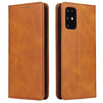 Flip folio leather case for samsung a50 khaki pns-139
