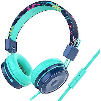 Kinder-Kopfhörer mit Mikrofon, kabelgebundene On-Ear-Headsets mit Lautstärke sicherer begrenzt 85