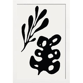 JUNIQE Print - Blade - Abstrakt &geometrisk plakat i fløde hvid &grå