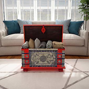 vidaXL Aufbewahrungstruhe Rot Mangoholz 80x40x45 cm