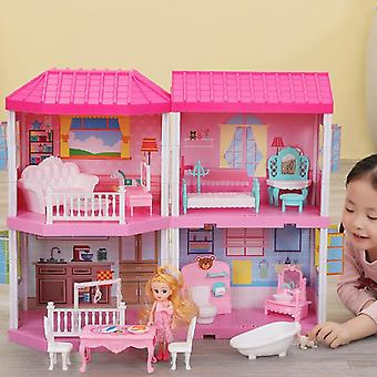 Diy Cottage Pretend Play Doll House, Gift For Toddlers