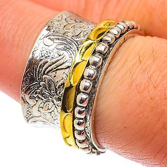 Meditation Spinner Ring Size 7.75 (925 Sterling Silver)  - Handmade Boho Vintage Jewelry RING66666