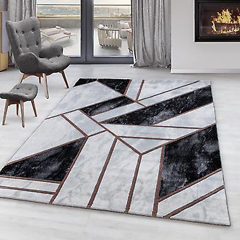Stue tæppe OXIA kort bunke design marmor mønster abstrakte linjer