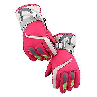 Ski Gloves,waterproof Kids Ski Gloves,snowmobile Cold Weather Gloves(Rose Red)