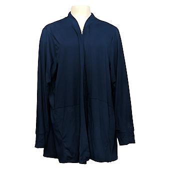 Cuddl Duds Women's Sweater Plus Cardigan w/ Peplum Hem Blue A391565