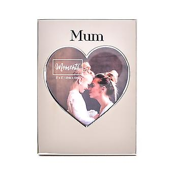 """Moments Silver Heart Frame 5"""" x 5"""" - Mama"""