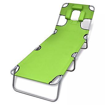 vidaXL sun lounger folding with headrest Adjustable apple green