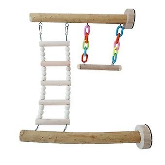 Wood Bird Perch Stand Toy Parrot Swing Climbing Ladder Birdcage Play Gyms  Juguetes para pájaros