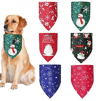 6 Pcs Christmas Element Print Washable Dog Triangle Bibs Pet Kerchief Scarf For Small Medium Dogs Puppy Festive Decorate