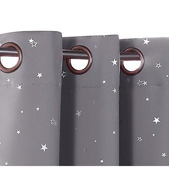 Blockera barngardiner för sovrum termisk isolerad silver twinkle stjärngardiner för pojkar flickor antik öljett topp, grå