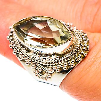Faceted Green Amethyst Ring Size 6.25 (925 Sterling Silver)  - Handmade Boho Vintage Jewelry RING76462