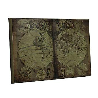 Antique Inspired New World Map Bound Book Wood Wall Art Hanging 28 Inch