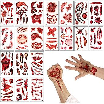 20 X Temporäre Tattoo Narben, Halloween Cosplay Make-up